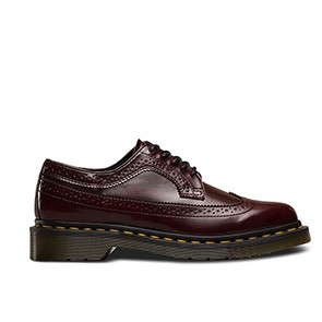 Veganer Schnürschuh | DR. MARTENS 3989 Wingtip Shoe Cherry Red Oxford Rub Off