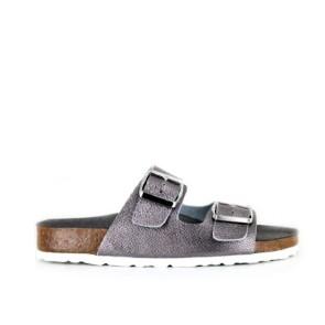 Vegane Sandale | VEGETARIAN SHOES Two Strap Sandal Pewter