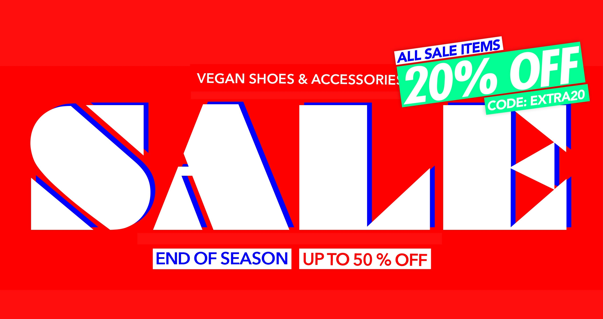 END OF SEASON   Vegan shoes on sale   Up to 50 % OFF vegan shoes and accessories